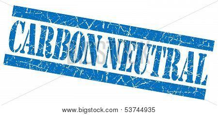 Carbon Neutral Grunge Blue Stamp