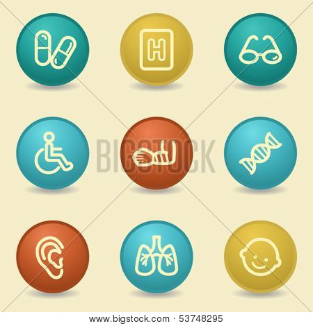 Medicine web icons, retro buttons