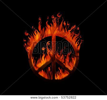 Symbol of peace on fire, on black background - concept of peace being threatened