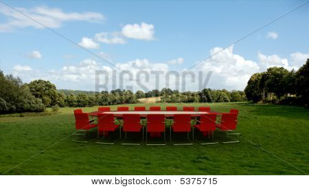 Business Meeting In The Countryside