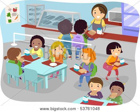 Illustration of Kids in a Canteen Buying and Eating Lunch