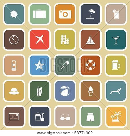 Summer Flat Icons On Brown Background