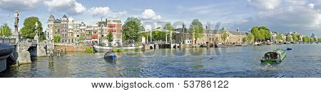 Panorama from Amsterdam innercity with the Amstel in the Netherlands