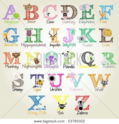 Animal Alphabet - Vector Illustration