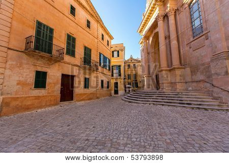 Ciutadella Menorca Cathedral at Ciudadela downtown in Balearic islands poster