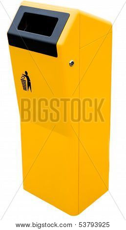 Yellow Bin Isolated On A White Background