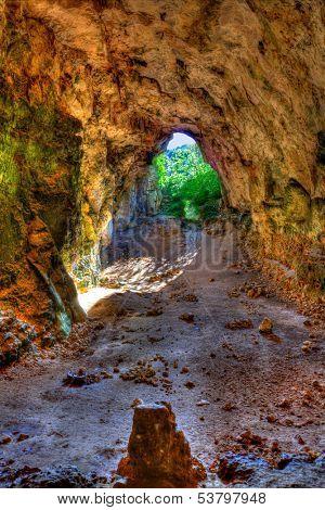 Menorca Cova dels Coloms Pigeons cave in es Mitjorn at Balearic island poster