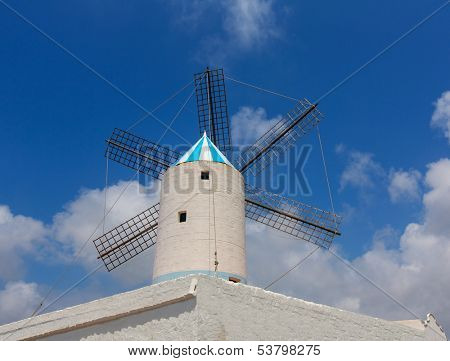 Menorca Sant Lluis San Luis Moli de Dalt windmill in Balearic islands of Spain