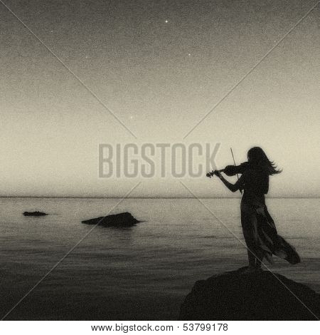 Artistic Violine Player Standing On The Rock