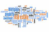 Real estate investment and trading word cloud illustration. Word collage concept. poster