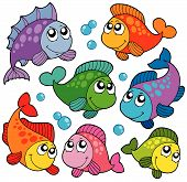 Various cute fishes collection 2 - vector illustration. poster