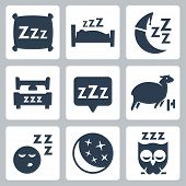 Vector isolated sleep concept icons set: pillow bed moon sheep owl zzz poster