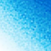 Blue tones geometric hexagonal patterned abstract background. poster