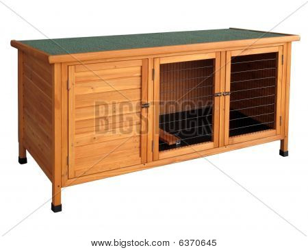 Wooden Rabbit Hutch Isolated Over White.
