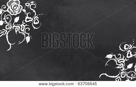 Empty Blackboard With Vintage Floral Pattern