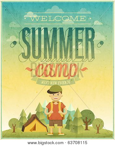 Summer camp poster. Vector illustration.