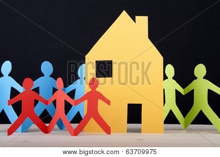 Colorful People And A House