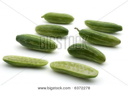 Tindora/ Coccinia Grandis/ Ivy Gourd Isolated On White Background