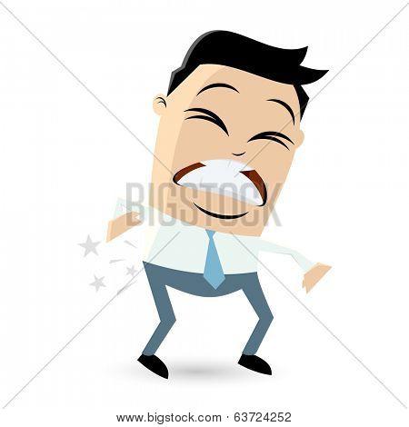 cartoon businessman with backache