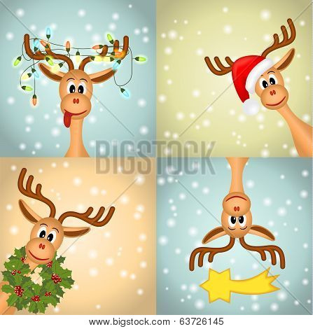 four funny christmas reindeer