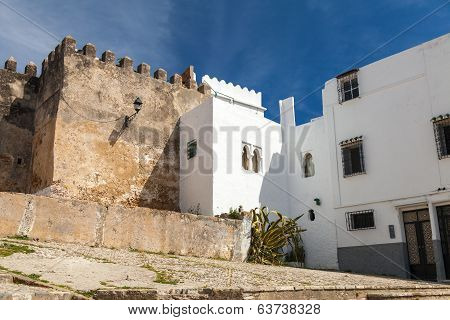 Ancient Fortress And Living Houses. Madina, Old Part Of Tangier Town, Morocco