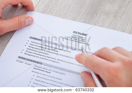 Businessman Reading Resume