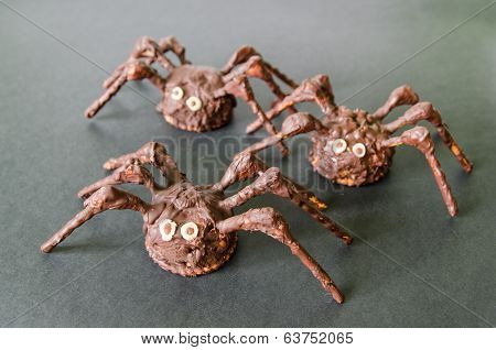 Chocolate Homemade Spiders On Black Background