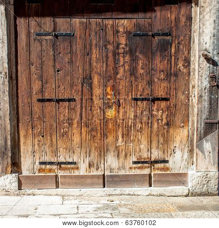 Aged old doors in Venice, Italy