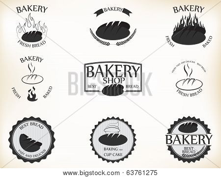 Bakery labels and badges with retro vintage style design