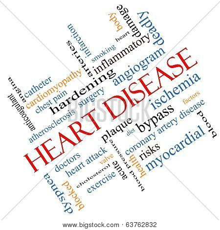 Heart Disease Word Cloud Concept Angled