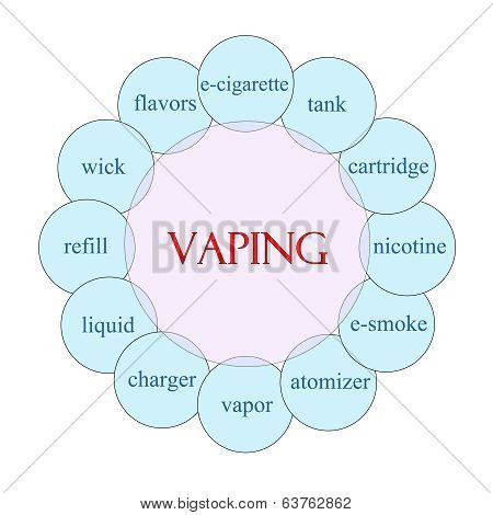 Vaping concept circular diagram in pink and blue with great terms such as tank cartridge e-cigarette and more. poster
