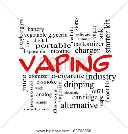 Vaping Word Cloud Concept In Red Caps