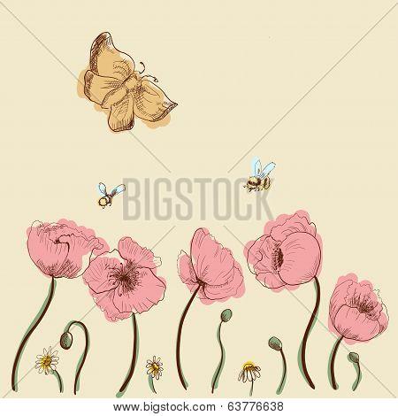 Hand-drawn poppies