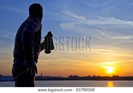 Captain Frederic John Walker Statue Watching The Setting Sun