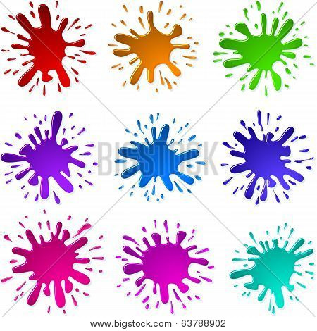Paint Ink Blots Splashes Set