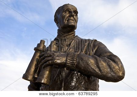 Captain Frederic John Walker Statue At The Pier Head In Liverpool