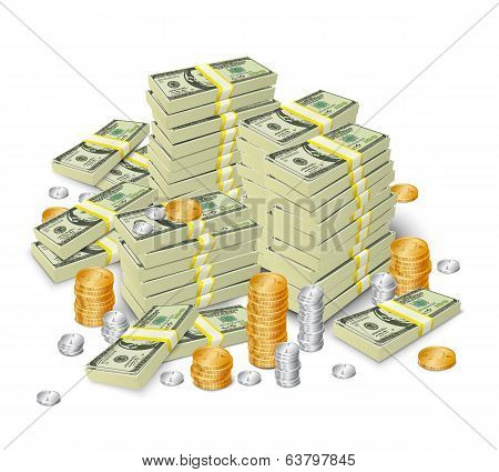 Money stack banknotes and coins concept