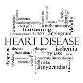 Heart Disease Word Cloud Concept in black and white with great terms such as plaque ischemia factors and more. poster