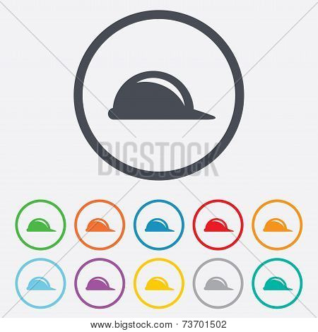 Hard hat sign icon. Construction helmet symbol.