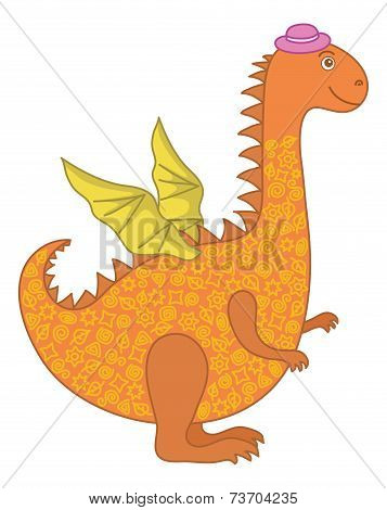 Symbol of holiday East New Years orange and yellow dragon in a lilac hat. Vector poster