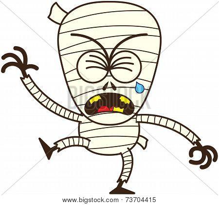 Cute Halloween mummy crying and sobbing