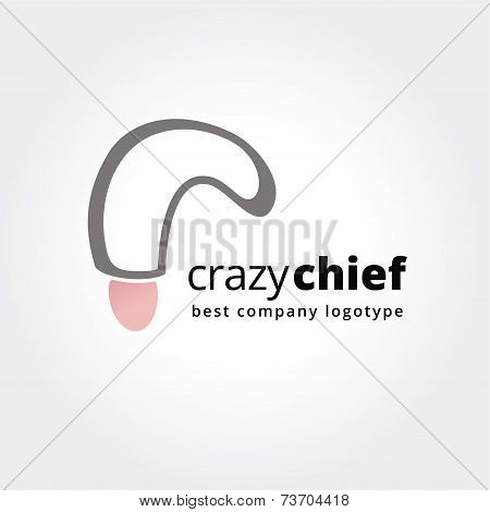 Abstract chief logo icon concept isolated on white background for business design. Key ideas is kitc