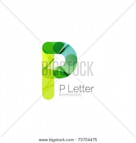Minimal P font or letter logo design isolated on white poster