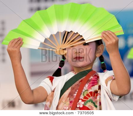 Japanese Festival dancer with a fan