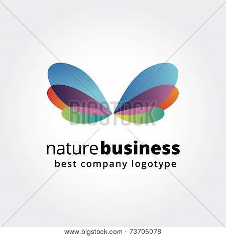 Abstract nature logo icon concept isolated on white background for business design. Key ideas is bus