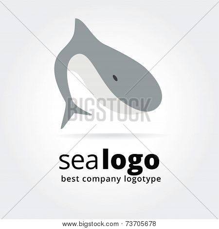 Abstract fish logo icon concept isolated on white background for business design. Key ideas is food,