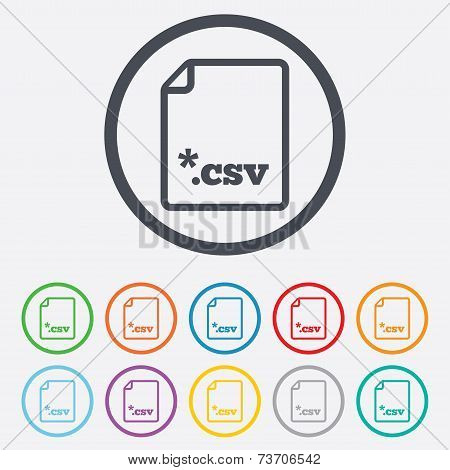 File document icon. Download tabular data file button. CSV file extension symbol. Round circle buttons with frame. Vector poster
