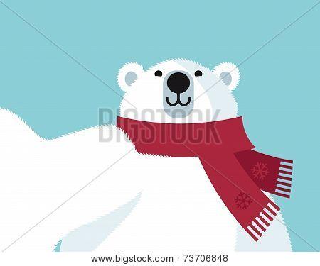 Cartoon polar bear making a selfie wit cell phone poster
