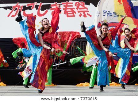 Japanese Daihanya Festival dancers onstage