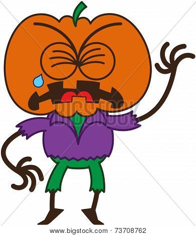 Cute Halloween scarecrow crying and sobbing